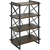 Furniture of America Linley III Industrial 4 Shelf Bookcase in Oak