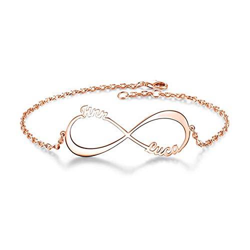 Elefezar Personalized 925 Sterling Silver Diamond Infinity Name Necklace Custom Any Names
