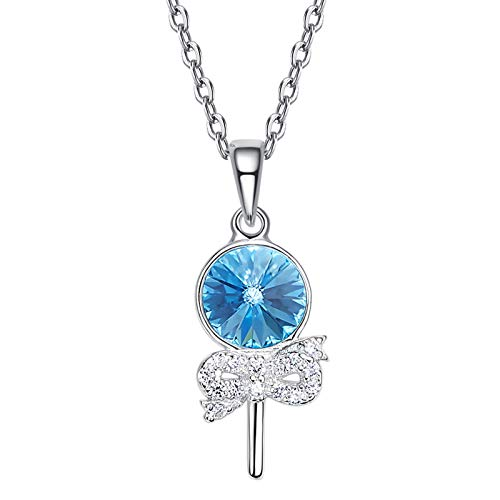 (Beydodo Sterling Silver Pendants and Necklaces for Women Lollipop Pendant with Crystal Valentines Necklace for Girlfriend)