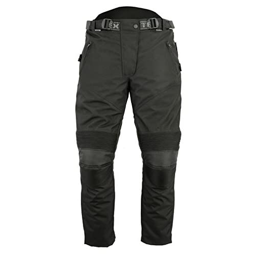 All Black Womens Waterproof CE Armoured Cordura Motorcycle Trousers - 8L
