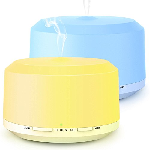 Aromatherapy Diffusers for Essential Oils 2 Pack 450ml Essential Oil Diffuser and Humidifiers for Large Room with Adjustable Mist Mode 4 Timer Settings 8 Colors Light   LUSCREAL