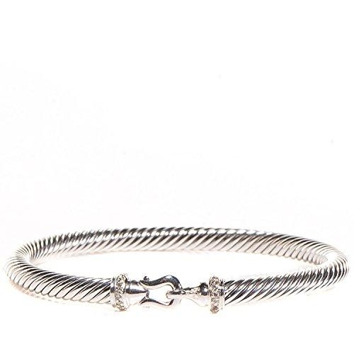 DAVID YURMAN Sterling Silver Pave Diamond 5mm Cable Buckle Bracelet