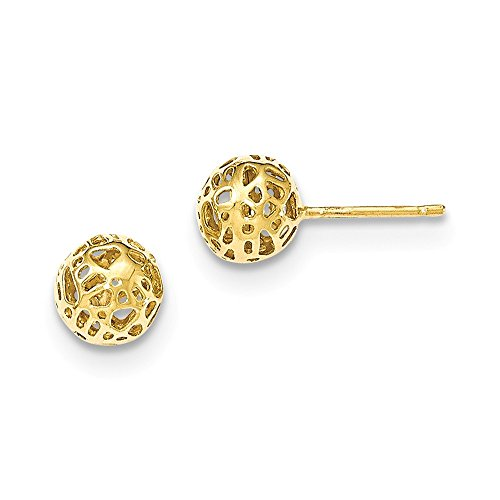 14K Yellow Gold Yellow Medium Fancy Ball Post Earrings by Unknown