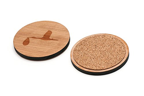 WOODEN ACCESSORIES CO Wooden Coaster Set With Laser Engraved Stork Design - Set of 4 Laser Cut Coasters - Cherry Wood Round Wooden Coasters - Made In The USA ()