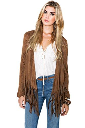 Womens Vintage Casual Tassel Hem Long Sleeve Faux Suede Cardigan Jacket Coat S