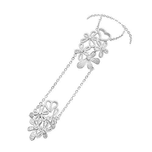 DTLA Sterling Silver Heart and Flower CZ