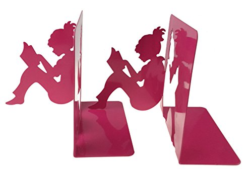 Pink Bookends - 3D Paper-cut Little Girl Is Reading Pattern Metal Bookends Book Ends For Kids Teenagers Teachers Students Adults Study Home School Library Office Decoration (Pink)