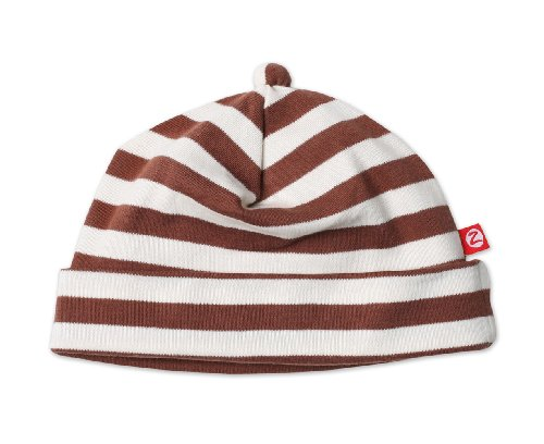 Zutano Primary Stripe Hat, Chocolate/cream, 12 Months ( 6-12 months)