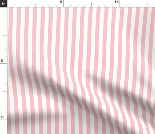 Spoonflower Peach Fabric - Pink White Stripe Beach Bright Nautical Print on Fabric by The Yard - Chiffon for Sewing Fashion Apparel Dresses Home - Stripe Apparel Pink