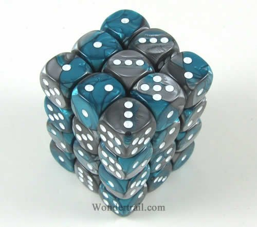 Steel Teal with White Gemini Dice D6 12mm Set of 36