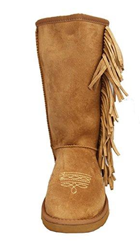 Montana Ovest Donna Stivali Frange Collection Allacciatura Marrone