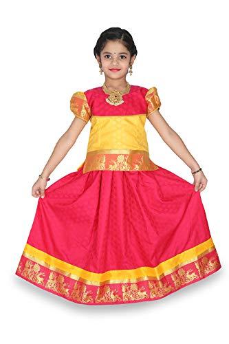 - kaatru Thana Silk Girls Pavadai Set D9 - Lehenga Choli (Pink & Yellow) (1-2 Y)