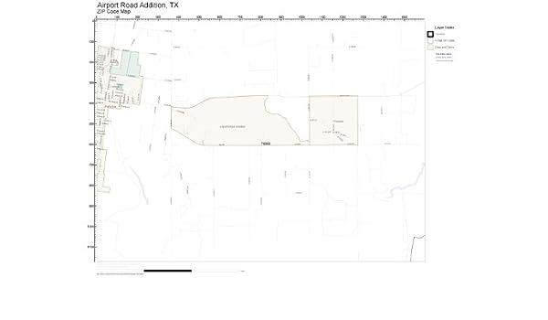 Addison Texas Zip Code Map.Amazon Com Zip Code Wall Map Of Airport Road Addition Tx Zip Code