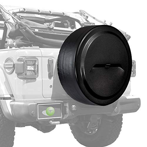 """Boomerang - 33"""" Rigid JL Tire Cover (Plastic Face & Vinyl Band) for Jeep Wrangler JL (with Back-up Camera) - Rubicon (2018-2020) - Black Textured"""
