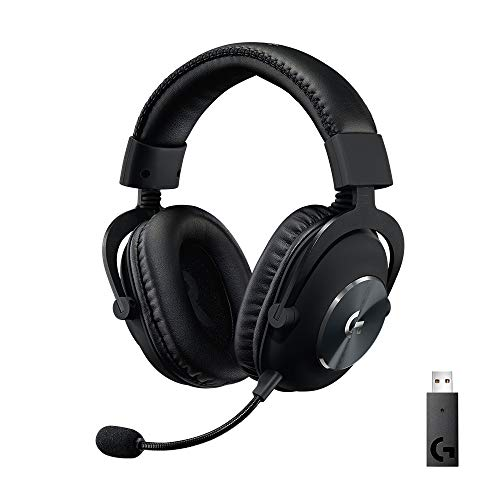 Logitech G PRO X Wireless Lightspeed Gaming Headset, Blue Voice Mic, 50 mm PRO-G Drivers, DTS Headphone, X 2.0 Surround Sound, 20+ Hour Battery Life, Leatherette Ear Pads, USB Soundcard, PC/Mac, Black