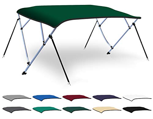 - XGEAR 3-4 Bow Bimini Top Boat Cover with 4 Straps, Mounting Hardwares and Storage Boot, Full Size in Color Grey, Pacific, Navy, Black, Beige, Green, White (Green, 4 Bow: 8'L x 54