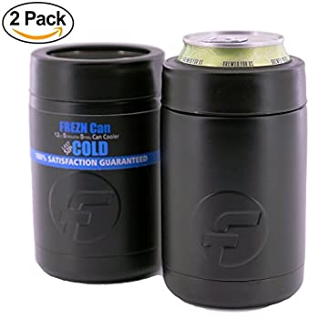 FREZN Can Cooler (2-Pack) | 12 oz Stainless Steel Can Cooler | Insulated Beer Can Cooler & Bottle Cooler | 100% Satisfaction Risk-Free (2-Pack, Matte Black)