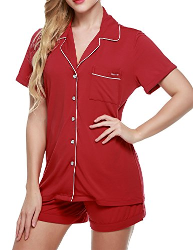 [Ekouaer Womens Pajama Sets Cotton Knit Two Piece Sleepwear (Red,Large)] (Knit Two Piece Set)