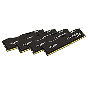 Kingston HyperX Fury Black 16GB Kit (4x4GB) 2400MHz DDR4 Non-ECC CL15 DIMM Desktop Memory (HX424C15FBK4/16) 41KgDTuUybL. SS300