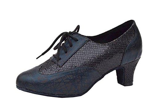 Tda Femmes Fermé Orteils Lacets Paillettes Synthétiques Salsa Tango Salle De Bal Latin Moderne Chaussures De Danse Noir