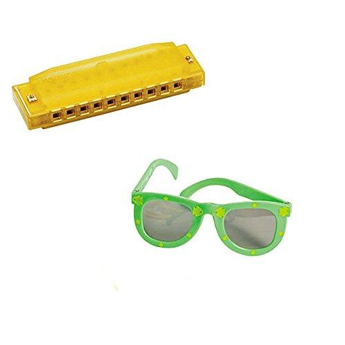 VBS Island Theme -Music 4 Pack W/Yellow Harmonicas & Kids' Fish Print Green Sunglasses