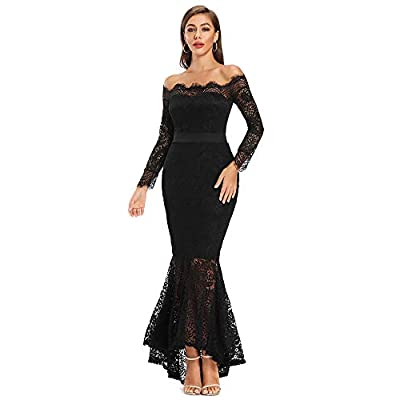 LALAGEN Women's Floral Lace Long Sleeve Off Shoulder Wedding Mermaid Dress at Women's Clothing store