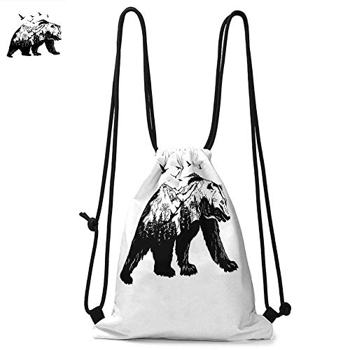Bear Drawstring backpack series Mammal Silhouette with Mountain Landscape Flying Birds and Forest Wildlife Design Convenient choice for daily activities W17.3 x L13.4 Inch Black ()