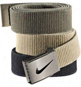 Nike Black Belt (Nike One Size Fits All Web Belts : Black, Olive & Khaki 3)