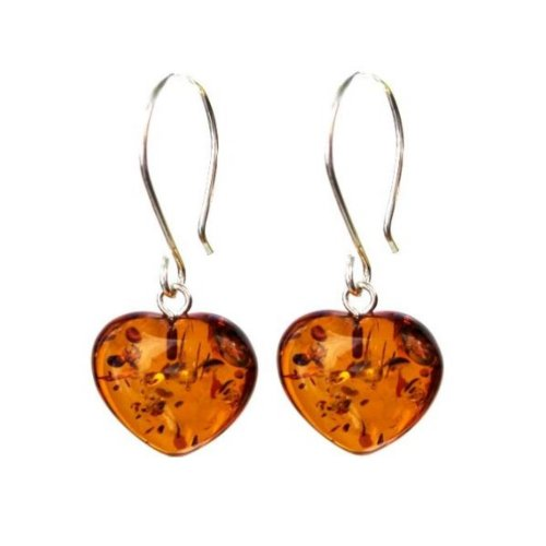 Amber Sterling Silver Large Heart Hook Earrings by Ian & Valeri Co.