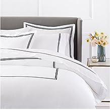 Pinzon 400-Thread-Count Egyptian Cotton Sateen Hotel Stitch Duvet Cover - Full/Queen, Black