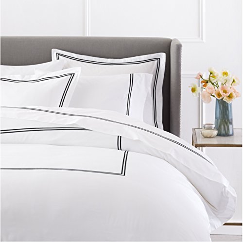 Pinzon 400-Thread-Count Egyptian Cotton Sateen Hotel Stitch Duvet Cover - Full/Queen, - Queen Black Duvet