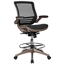 Flash Furniture Drafting Chair | Adjustable Height Mid-Back Mesh Drafting Chair with Arms , Black -, BL-LB-8801X-D-GG