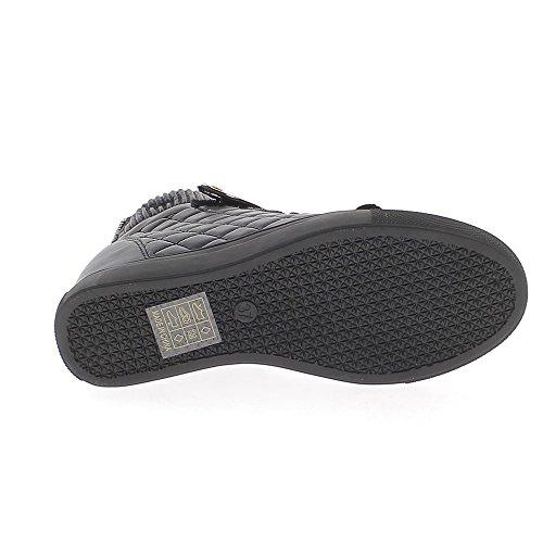 Zapatillas de cuña de levantamiento negro con tacón de 7cm