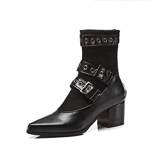 Black US11.5   EU43   UK9.5   CN45 Black US11.5   EU43   UK9.5   CN45 Women's Fashion Boots Suede PU Fall & Winter British Boots Chunky Heel Pointed Toe Mid-Calf Boots Rivet Black