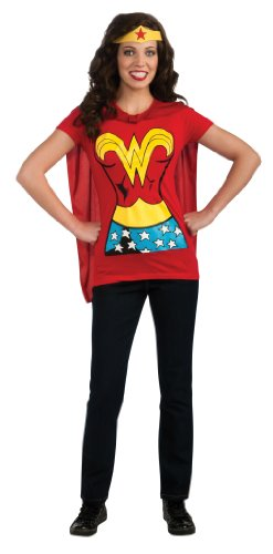 DC Comics Wonder Woman T-Shirt With Cape And Headband Red X-Large Costume