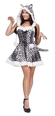 Fun World Costumes Women's Snow Leopard Adult Costume, White/Grey, Small/Medium