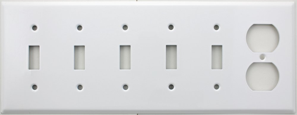 Stamped Steel Smooth White 6 Gang Wall Plate - 5 Toggle Switches One Duplex Outlet