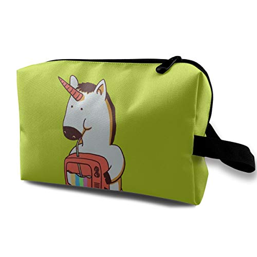 Unique Unicorn Cosmetic Bag Durable Travel Makeup Case for Women White