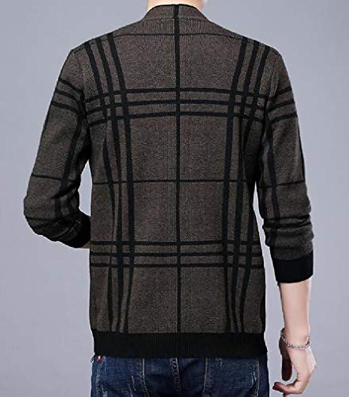 MU2M Men Business Plaid Open Front Long Sleeve Windbreaker Cardigan Coat: Odzież