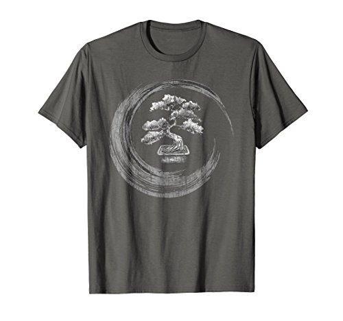 Mens Bonsai Tree Enso Circle T-Shirt Vintage Zen Calligraphy Art Large ()
