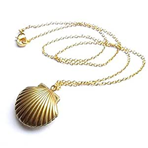Sea Shell Locket, Mermaid Valentine Necklace, Beach Locket, Gold Tone Brass, Little Shell Locket, Nautical Jewelry
