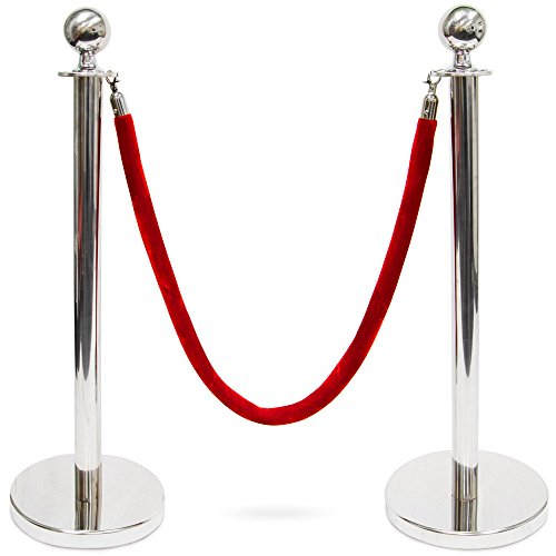 3-Foot Polished Ball Top Stanchions with 4.5-Foot Red Velvet Rope by Pudgy Pedro's Party Supplies (Silver)