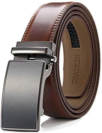 """Men's Leather Ratchet Belt Dress with Automatic Slide Buckle Adjustable - 1 3/8"""" Trim to Exact Fit"""