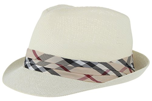 Enimay Vintage Unisex Fedora Hat Classic Timeless Light Weight 21 Off- White Size S/M -