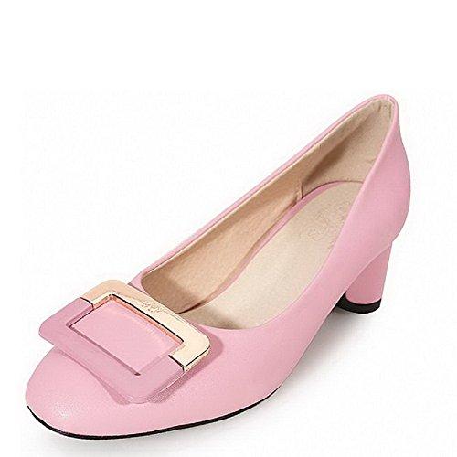 Allhqfashion Da Donna Tacco Quadrato Chiuso Con Tacchi A Zampa Di Solido Su Pompe-scarpe Rosa