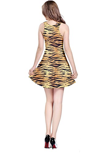 Cowcow para mujer Tie Dye impresión patrón Estilo sin mangas vestido skater, XS-5X L Yellow Tiger