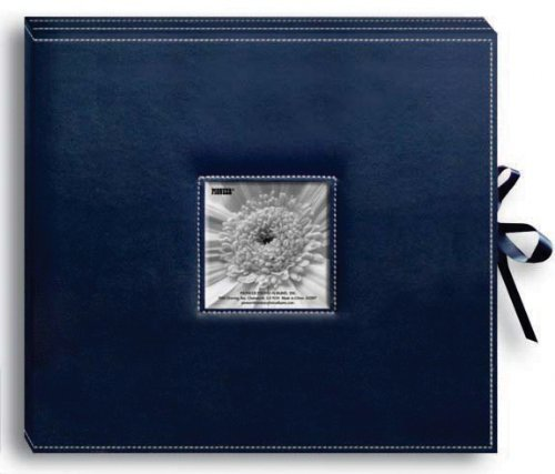 (Pioneer Photo Albums Pioneer Sewn Leatherette Frame Cover 3-Ring Navy Blue Scrapbook Box with Ribbon Closure)