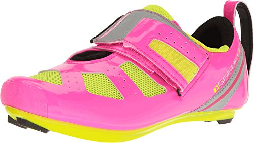 Louis Garneau Women's Tri X-Speed III Cycling Shoe, Pink Glow/Bright Yellow, 40