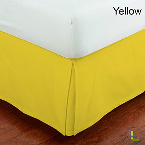 Bedskirt Pattern (16 Inch Fall Bed Skirt 400 TC Solid Pattern 100% Egyptian Cotton All Sizes & Colors (FULL , Yellow ))
