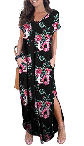 GRECERELLE Women's Casual Loose Long Dress Short Sleeve Floral Print Maxi Dresses with Pockets Black-M